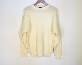 Vintage Chunky Knit Off White Cream Crewneck Sweater Oversize Baggy Minimal 1980s 1990s