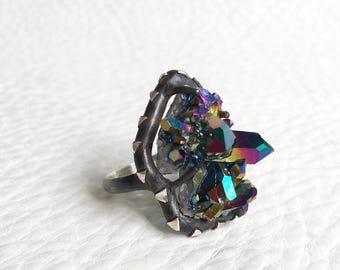Titanium Aura Quartz Cluster Ring, Oxidized Sterling Silver Handmade Jewelry, Triangle Arrow motif, Spirit Guide Size 6.75
