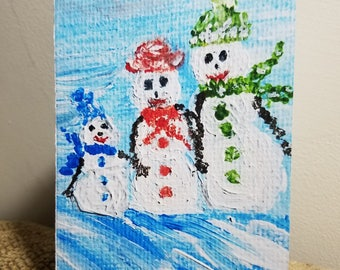 The Snowman Family  (Christmas Card Boxed Set of 10 Cards with Envelopes)