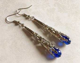 Blue Antique Earrings, Blue Jewelry, Blue Earrings, Antique Earrings, Antique Jewelry, Victorian Earrings, Sapphire Blue Earrings