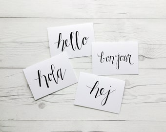 Hello World | Hello Cards | Hej Hello | Wanderlust | Bon Jour | Hola | HandLettered | Blank Cards | Kraft Envelopes | Stationery Set