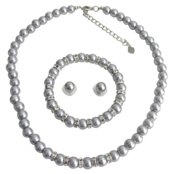 Gray Pearl   Necklace Gray Stud Earrings Gray Bracelet Pearl Rhinestone Bracelet Bridal Bracelet Wedding Accessory Free Shipping In USA