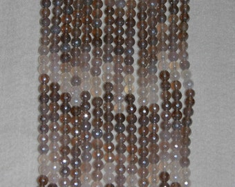 Chalcedony, PearlGrey Chalcedony, Faceted Bead, Natural Stone, Gemstone, Semi Precious, Gemstone Bead, Gemstone Rondelle, Strand, 6mm