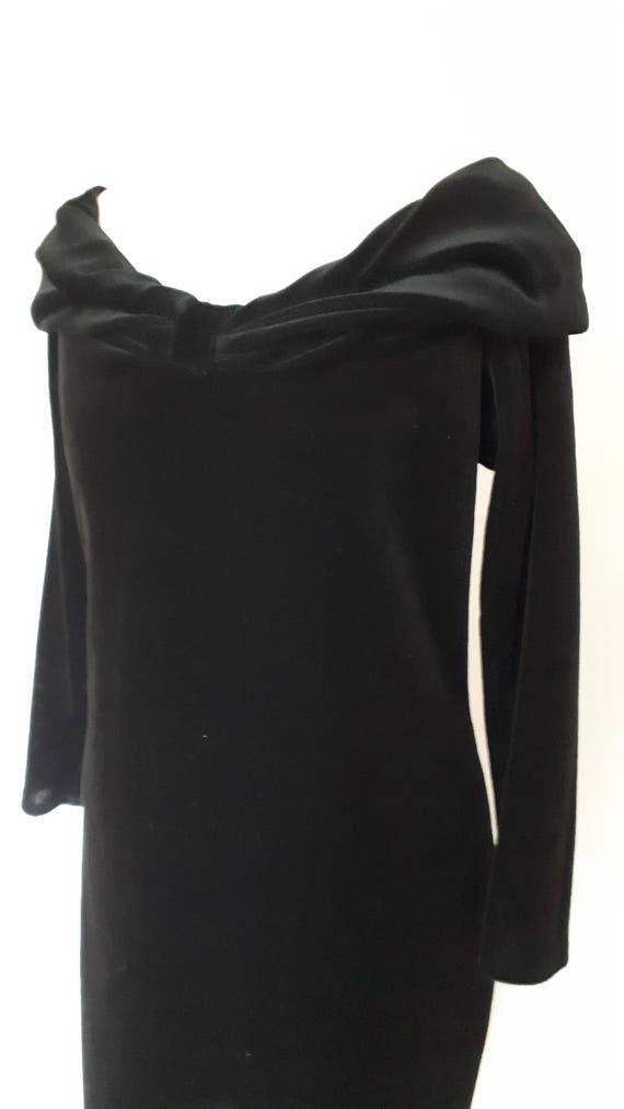 Vintage Kleid 80er Jahre schwarz samt Abendkleid off Schulter