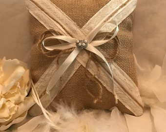 Rustic Lace, Burlap, and Ivory Ring Bearer Wedding Pillow