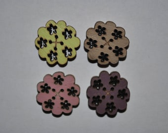 set of 4 buttons wood flower child/baby/sewing/scrapbooking/deco 60