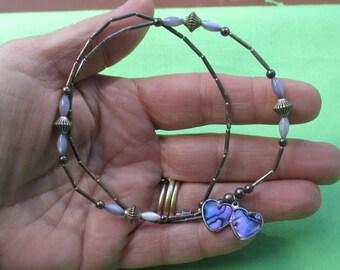 Vintage Purple Paua Shell Double Heart Beaded Necklace Patina
