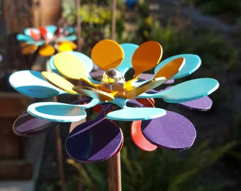 SET of 3 - *NEW* - Wild Flowers Garden Stakes Metal Art Yard Art - Choose your colors or Be SURPRISED