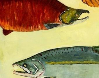 Salmon, Pike, Lingcod Original Oil Painting