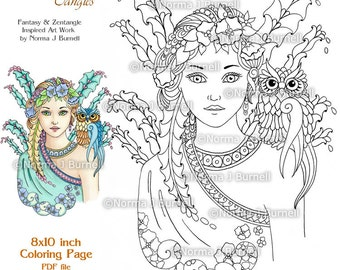 Fairy Tangles Printable Coloring Sheets by Norma J Burnell Fairies to color Fairy Owl Coloring Book Pages Owls to Color Adult coloring pages