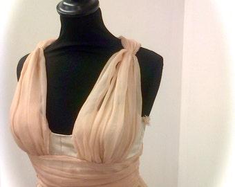 Beach wedding dress, 100% silk tulle and metallic organza, bespoke.
