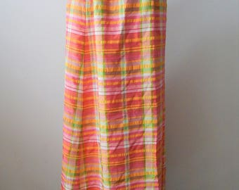 "SALE! Vintage Maxi Skirt Lord & Taylor Sz S 26"" Waist Mod Plaid Wrap Around Maxi"