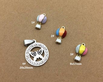 10PCS, Enamel Charm, Hot Air Balloon Charm, White Butterfly Pendant, Jewelry Charm, Craft Supplies, Gold Tone