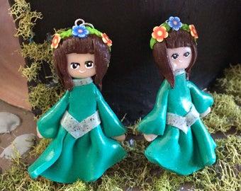 Forest Maiden polymer clay charm/ figurine