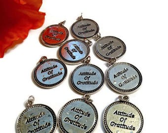 10Pc Charm Blow Out! Irregular Charms *Drastically Reduced* Attitude Of Gratitude Inspirational Recovery Pendants