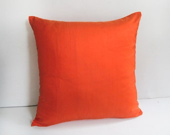 Bright orange pillow cover. Decorative dupioni silk pillow. Luxury silk cushion cover. Custom made cushion covers 18 inch.