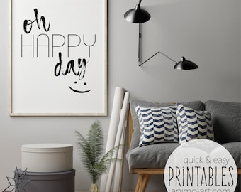 """Wall paintings printable """"Oh Happy Day"""" incl. gift tags, printable, trendy posters, print templates, happy, motivation"""