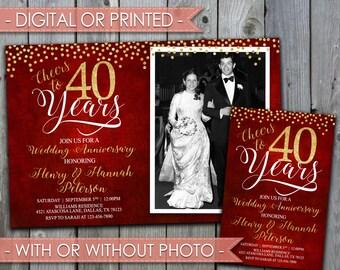40th Wedding Anniversary Invitation, Wedding Anniversary Invite, 30th, 40th,  50th, 60th, 70th, 80th, Ruby, Red, Digital File #356