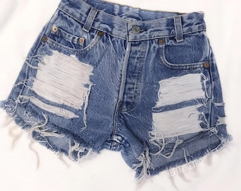 All Sizes Vintage Levis Distressed Front High Waisted Cut Off Shorts