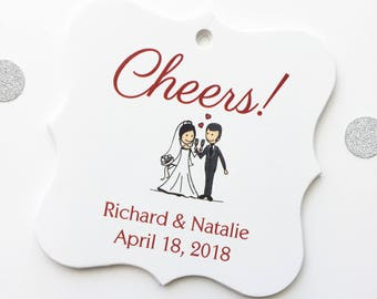 Cheers! Wedding Favor Tags, Champagne Toast Custom Favor Tags, Cheers Wedding Favor Tags  (FS-201-1)