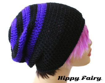 Lightweight goth Slouch Beanie Purple and Black