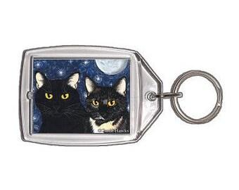 Black Cat Keychain Tortoiseshell Cats Tortie Moon Stars Fantasy Cat Art Keychain Keyring Cat Lovers Gifts