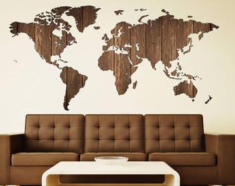 wooden art world map decal world map prints decal decor world map sticker travel map map