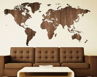 Wooden Art World Map Decal World Map Prints Decal Decor World Map Sticker  Travel Map Map World Décor Stiker Art Print Decal Map Office Decor