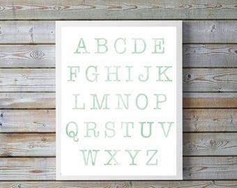 Nursery,Decor,ABC, Nursery Art,Mint, Nursery digital Print ,Alphabet Poster,Watercolor nursery,neutral,digital, bright,gift for baby,nursery