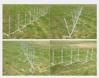 Ama-Zing Dog Agility Training Weave Poles  Straight, Slanted, Channeled, even 2-by-2!!  Full set of 12 Poles :-)