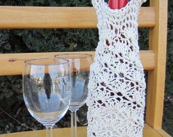 Crochet Lace Shell Wine Bag, Tote, Cozy PDF Pattern