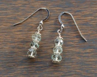 Aquamarine and Silver Earrings, Aquamarine Beaded Earrings, March Birthstone, Gemstone Dangle Earrings,  gift for her, Birthday gift,