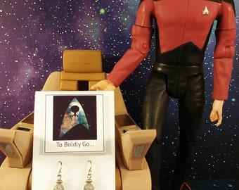 Star Trek Inspired Charm Earrings w/ Labradorite Gemstones, Sci Fi Jewelry, Star Trek Jewelry, Geek Jewelry, Nerdy Girl, STNG