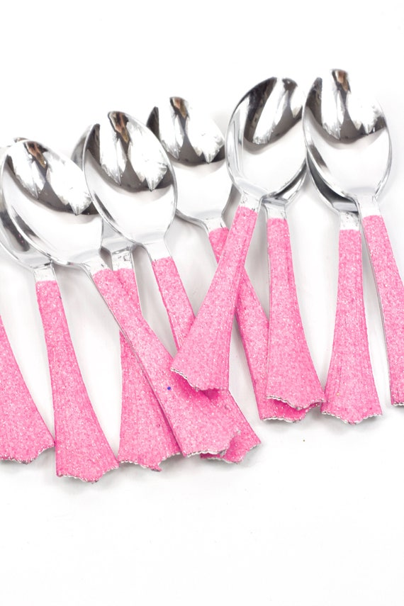 Silver Plastic Spoon, Hot Pink Glitter Silverware Pink Glitter Utensils Disposable Party Silverware Decorative Tableware Table Settings