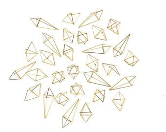 "Himmeli ornaments - Set of 30 Brass Modern Geometric Ornaments - includes 3 different sizes  - 3.5"" to 5.5"""