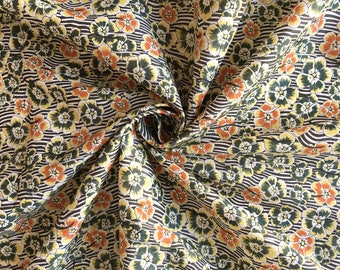 Cotton printed grey green yellow and orange