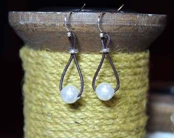 Pearl Leather Cord Earrings - .925 Stamped Sterling Silver Earrings - 8mm Pearl & 1mm Dainty Leather Cord