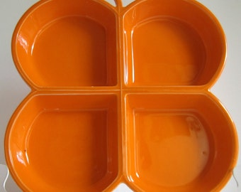 Mod 1960s Butterfly Serving Dish / Platter / Bright Orange