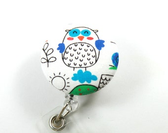 OWL Fabric Badge Reel, Button badge Reel, Retractable badge Holder, Owl Lanyard