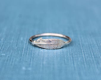 Silver Feather Ring Style 3, Sterling silver Feather, Indian Inspired, Native American, Stacking Stacker ring, Dainty ring, silver ring