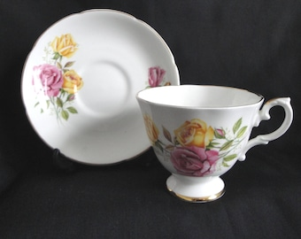 Royal Grafton Cup & Saucer Pink Yellow Roses England Fine Bone China Vintage RARE