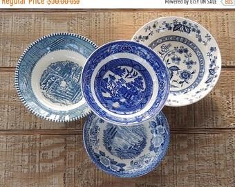 ON SALE Mismatched Blue White Transferware Dessert Bowls Set of 4 Small Bowls Tea Party Sauce Bowls Berry Bowls, Vintage Replacemant China B