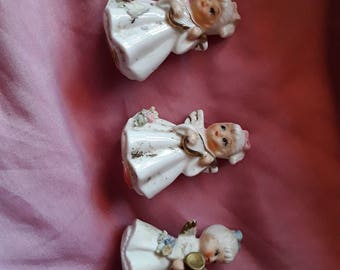 Lot of 3 angels napcoware/ Napco made in Taiwan,  Republic of China. Napcoware angels #9876 with music instruments