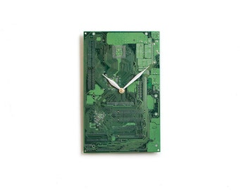 Gamer Boyfriend Gift, Green Wall Clock, Gaming Gift for Him, Circuit Board Wall Decor, Tech Office Decor, Industrial Design Wall Art