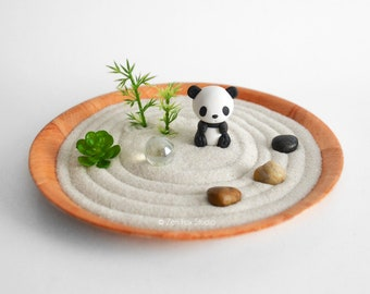 Panda Mini Zen Garden // Lucky Bamboo // Sand Garden // Kawaii Animal DIY Kit Fidget Toy // Gifts Under 20 // Cubicle Decor Coworker Gift