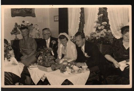 Vintage Wedding Party Photo Postcard