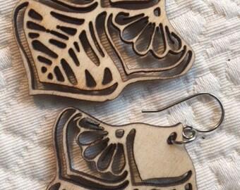 laser cut wood earrings