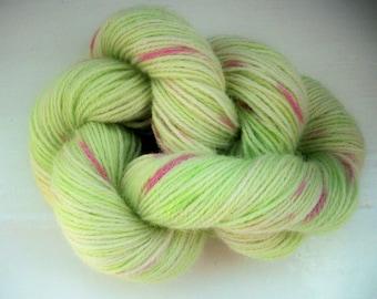 Sock yarn hand painted luxury pure alpaca 100g, green, pink, indie dyed