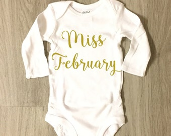 Miss February baby girl bodysuit - baby shower gift - coming home outfit
