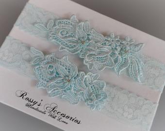 Blue Wedding garter Set / Something Blue Lace Garter Set / Ivory Lace Wedding Garter / White lace Bridal Garter /Ivory Garter Set